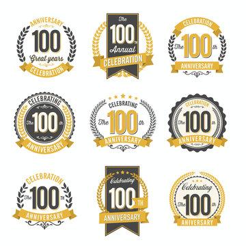 Set of Retro Anniversary Badges 100th Year Celebration
