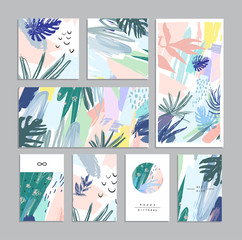 Set of creative universal floral cards in tropical style. Vector