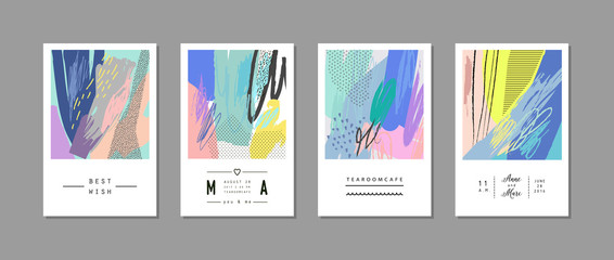Set of creative universal cards. Hand Drawn textures. Art posters. Vector