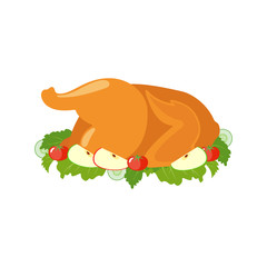 Fried turkey or chicken icon in flat style.