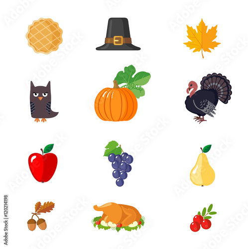 set of thanksgiving icons in flat style stock image and royalty