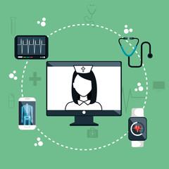 nurse digital medical healthcare isolated vector illustration eps 10