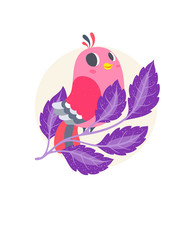 cute cartoon ponk bird. vector illustration