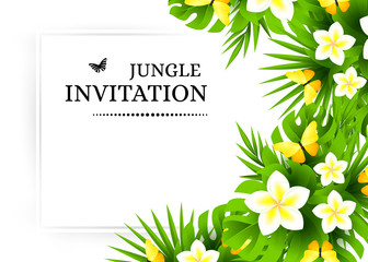 Tropical invitation background with exotic flower and yellow butterflies