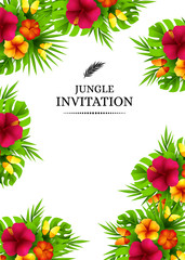 Tropical invitation card with exotic hibiscus flower and butterflies