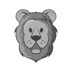 Face of a lion icon in black monochrome style isolated on white background. Animal symbol vector illustration