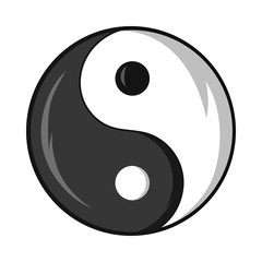 Sign yin yang icon in black monochrome style isolated on white background. Religion symbol vector illustration