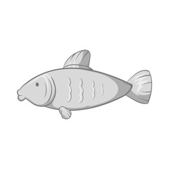 Fish icon in black monochrome style isolated on white background. Seafood symbol vector illustration