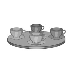 Four mugs on the table icon in black monochrome style isolated on white background. Tea time symbol vector illustration