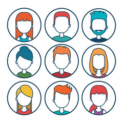set diverse persons young isolated vector illustration eps 10
