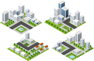 Set 3d isometric three-dimensional city with houses, skyscrapers, buildings and streets with traffic. Top view of urban infrastructure for the creation and design.