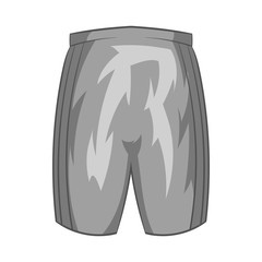 Sports shorts icon in black monochrome style isolated on white background. Clothing symbol vector illustration