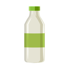 Plastic bottle for dairy foods in cartoon style isolated on white background vector illustration