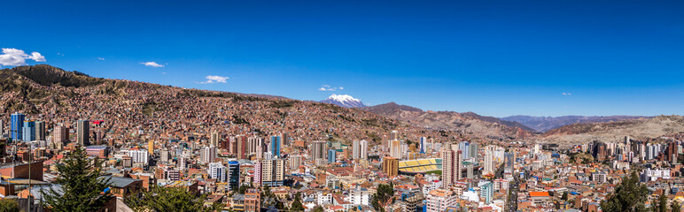 Panoramic view of La Paz with Illimani Mountain - La Paz, Bolivia