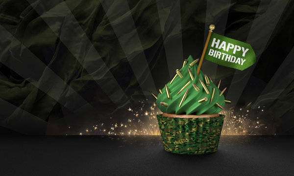 3D Rendering of Military Style Cupcake, Happy Birthday Text on the Flag