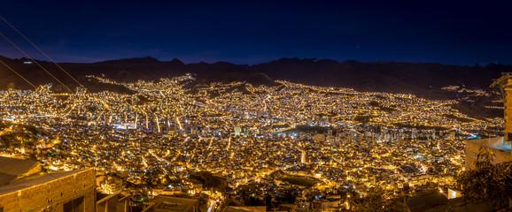 Panoramic view of La Paz at night - La Paz, Bolivia