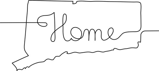 continuous line drawing of Connecticut home sign