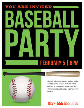 Baseball Party Flyer Invitation Illustration