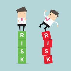 Business risk management of difference businessman between a success and failure.