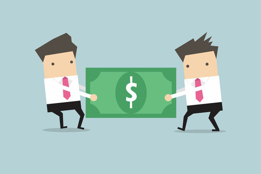 Two businessmen are pulling the dollar to each other.