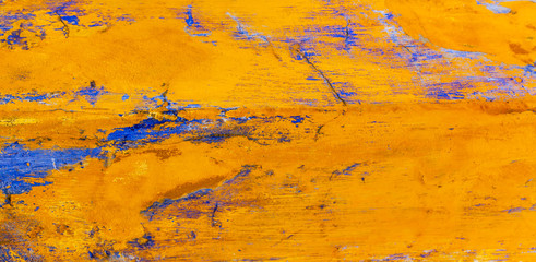 Bright Yellow Blue Abstract Wall Obidos Portugal