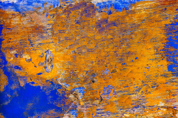 Blue Yellow Wall Abstract Obidos Portugal