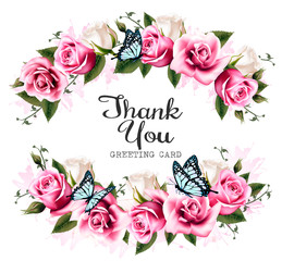Thank You background with beautiful roses and butterflies. Vecto