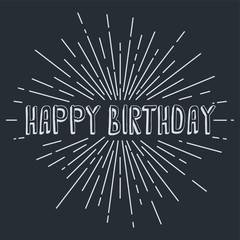 happy birthday greetings sunrays retro theme