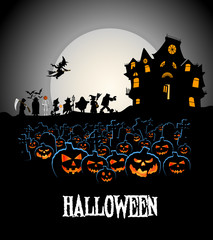 halloween walk on cemetery with pumpkins and haunted house