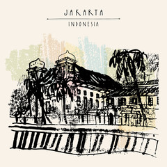 Old church on the river bank in Kota, Jakarta, Indonesia, Asia. Colonial architecture. Travel sketch. Hand-drawn vintage book illustration, greeting card, postcard or poster