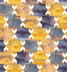 Hand-drawn watercolor seamless pattern in Moroccan style. Colorful tiles in the repeated print for the textile and wallpapers. Geometrical background