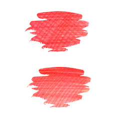 Bright crayon hand drawn strokes spot over the white background. Hatching colored pencil.