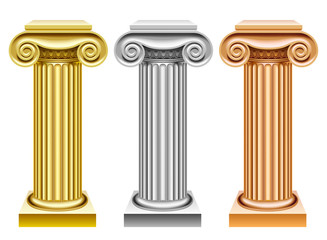 Gold, silver and bronze ancient columns
