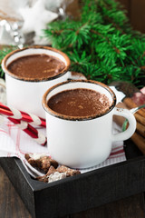 Christmas mugs of hot chocolate and homemade gingerbread cookies, selective focus. Christmas Holiday background, vintage style.