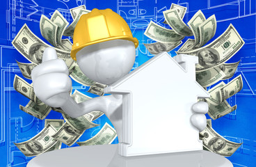 Construction Worker Character With Money