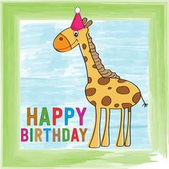 childish birthday card with giraffe