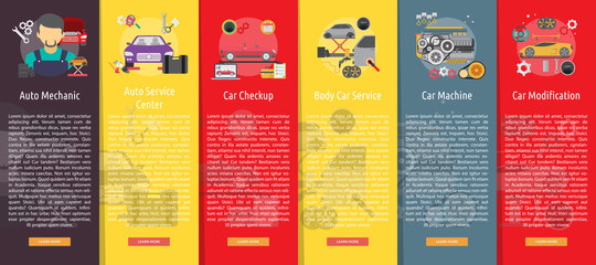 Mechanic and Car Repair Vertical Banner Concept