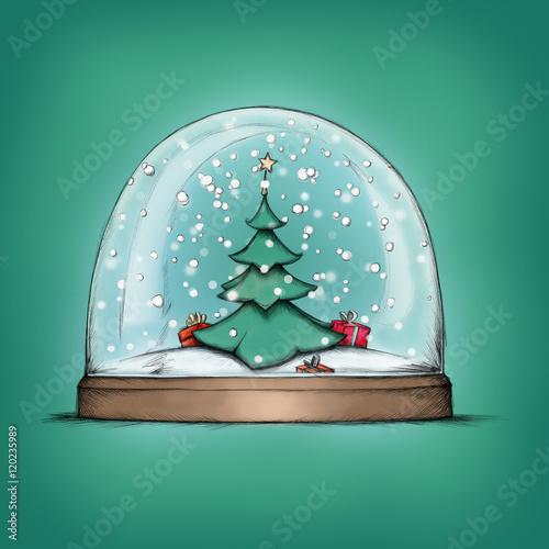 schneekugel mit weihnachtsbaum stockfotos und. Black Bedroom Furniture Sets. Home Design Ideas