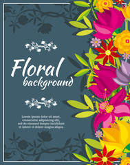 Wall Mural - Abstract vector spring background with flowers