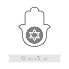 Hamsa hand. Rosh Hashanah icon. Shana tova