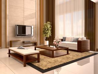 Modern design living room warm colors. 3d illustration.