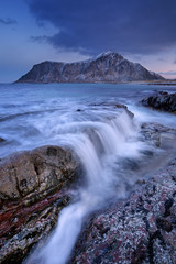 Rocky coastline on the Lofoten in northern Norway at dawn