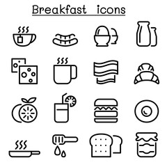 Breakfast icons in thin line style
