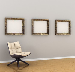 large picture, frames, hanging on a gray wall. The chair in the