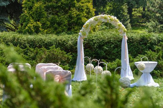 Wedding arch. Beautiful  Ceremony