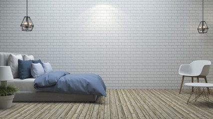 3d rendering white brick wall bedroom in minimal style