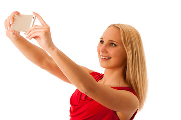 woman taking selfie with smarttphone isolated over white backgro
