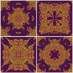 Set of abstract flowers seamless pattern for tile, background or texture.