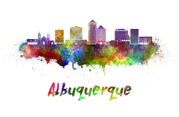 Fotomurales - Albuquerque skyline in watercolor splatters with clipping path