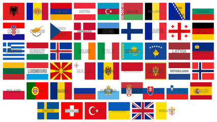Illustration of all the flags of Europe with the countries written on the flag